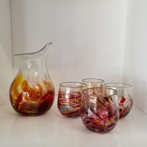 Decanter $250 and 4 glasses $190 - Crepe Myrtle series